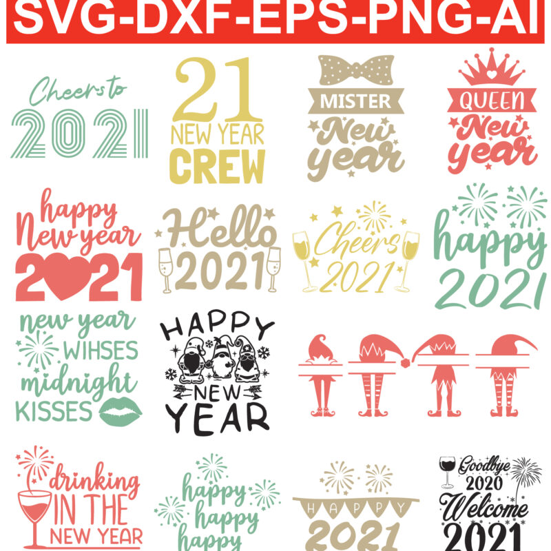 happy new year 2021 Vector SVG files for Silhouette Cameo and Cricut.