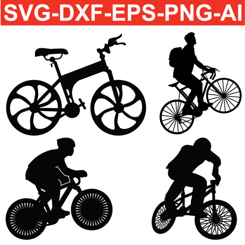 Mountain bike silhouette Vector SVG files for Silhouette Cameo and Cricut.
