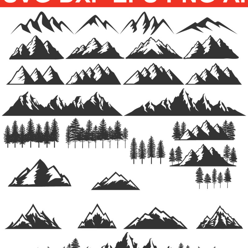 mountain svg  files for Silhouette Cameo and Cricut.