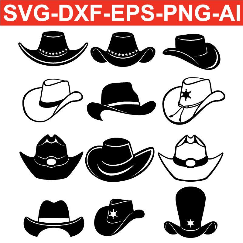 Cowboy Hat SVG PNG EPS DXF AI Silhouette