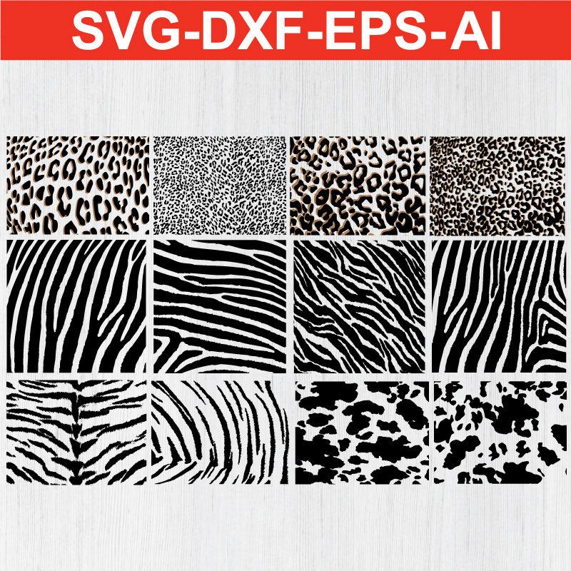 Animal skins Bundle cow panther giraffe leopard tiger zebra jaguar cheetah SVG EPS DXF AI