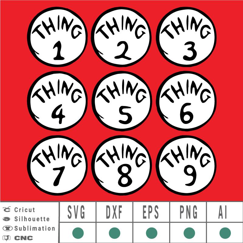 Thing 1 2 3 4 5 6 7 8 9 Dr seuss SVG