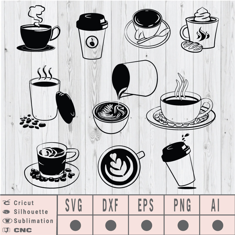 Coffee Cup clipart SVG EPS DXF PNG AI Instant Download