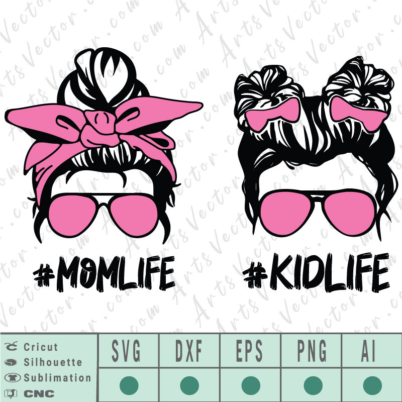 Mom life kid life SVG EPS DXF PNG AI Instant Download