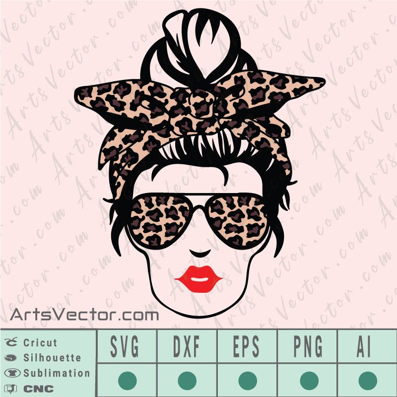 Messy Bun Leopard Layered SVG EPS DXF PNG AI Instant Download