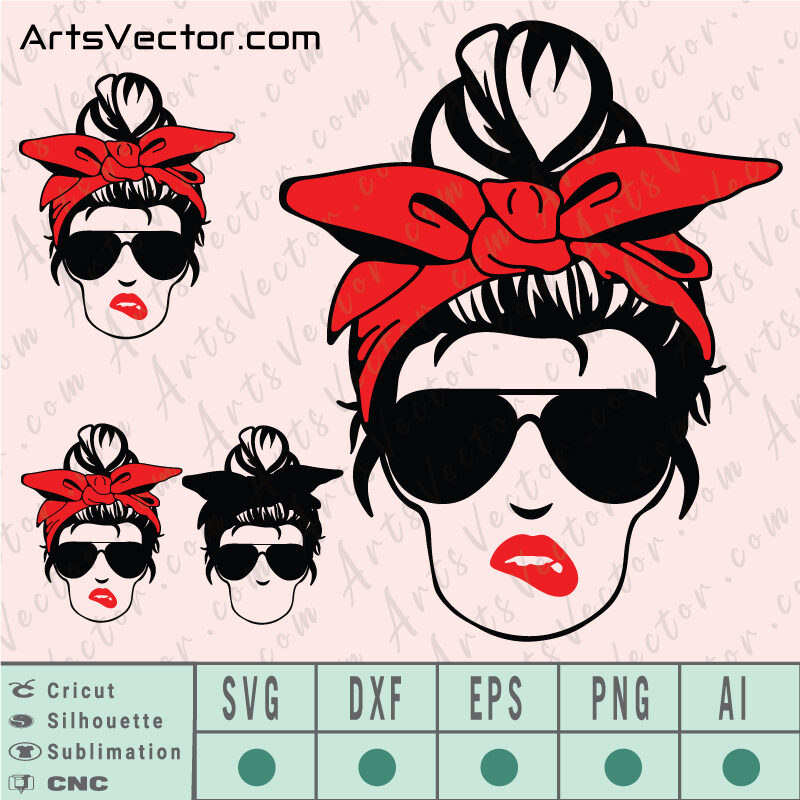 Messy bun red bandana SVG EPS DXF PNG AI Instant Download