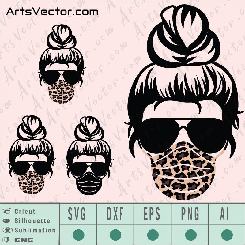Messy Bun leopard mask SVG EPS DXF PNG AI Instant Download