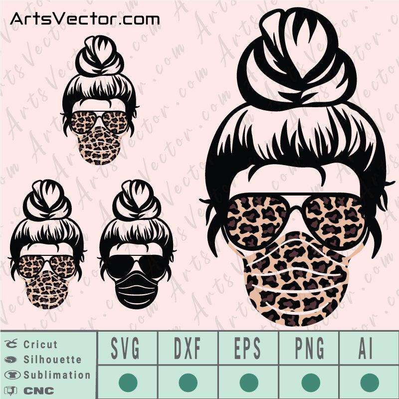 Messy Bun leopard mask sunglasses SVG EPS DXF PNG AI Instant Download