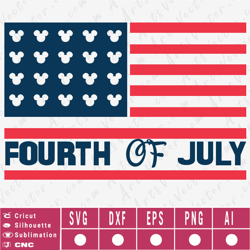 Happy 4th of July Disney Flag SVG EPS DXF PNG AI Instant Download