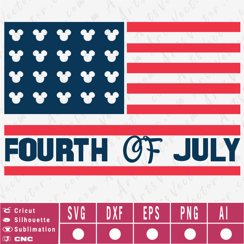 Happy 4th of July Disney Flag SVG