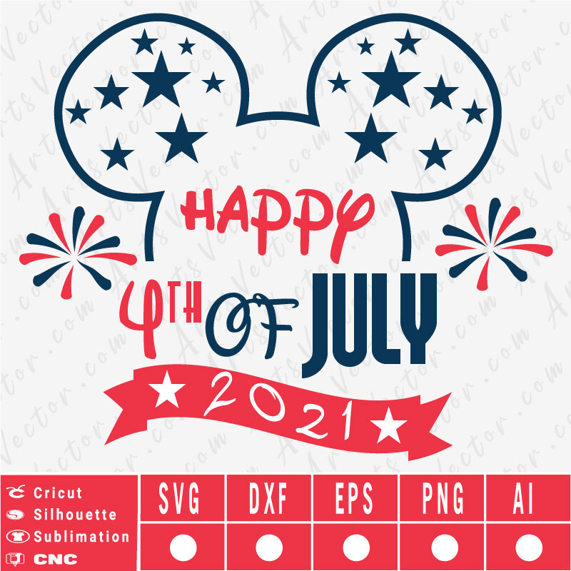Happy 4th of July Disney Ears SVG EPS DXF PNG AI Instant Download