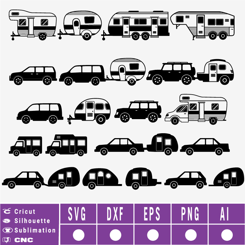 Camper trailer camper car SVG
