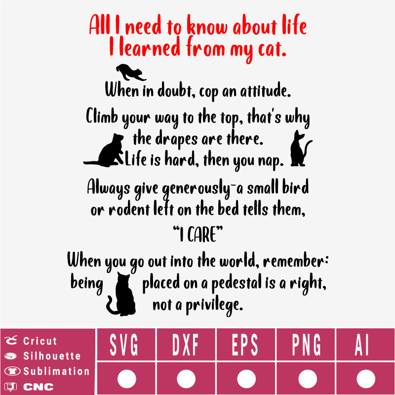 All I Need to Know About Life I Learned from My Cat SVG EPS DXF PNG AI Instant Download