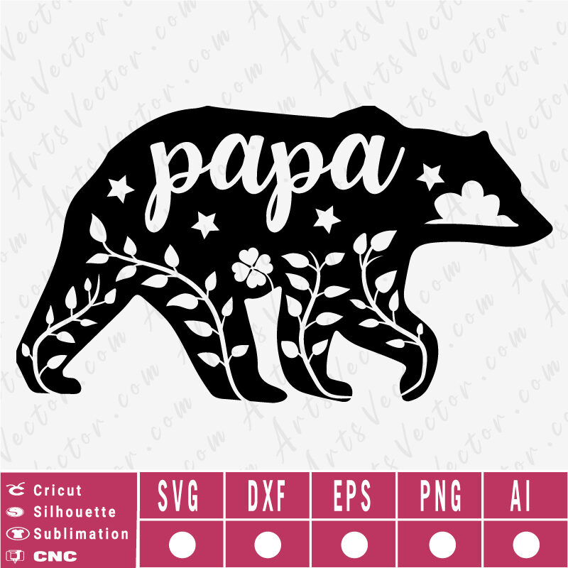 Papa Bear Silhouette SVG EPS DXF PNG AI Instant Download