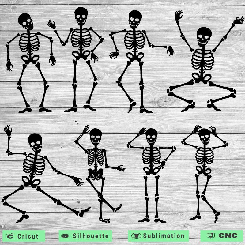 8 Funny dancing skeleton SVG PNG EPS DXF AI